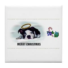 MERRY CHRISTMAS BOSTON TERRIER ANGEL Tile Coaster