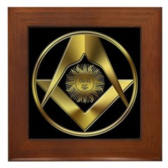 Masonic Sun in a Circle Framed Tile