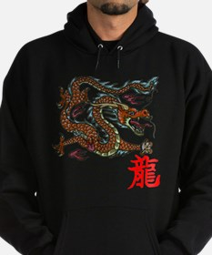 Funny Dragon and chinese symbols Hoodie (dark)