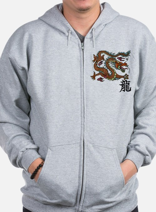 Cute Dragon and chinese symbols Zip Hoodie