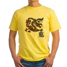 Cute Dragon and chinese symbols T