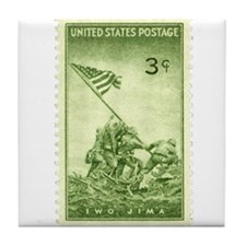 Iwo Jima 3 Cent Stamp Tile Coaster