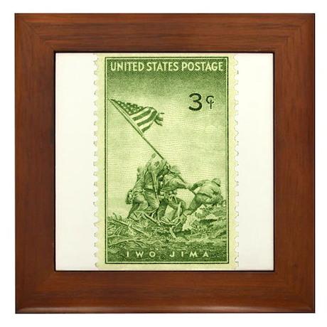 Iwo Jima 3 Cent Stamp Framed Tile