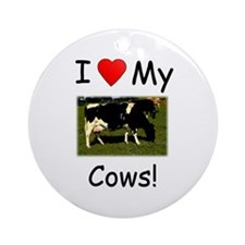 Love My Cows Ornament (Round)
