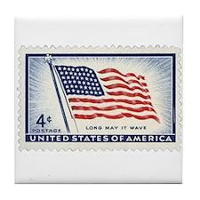 USA Flag 4 Cent Stamp Tile Coaster