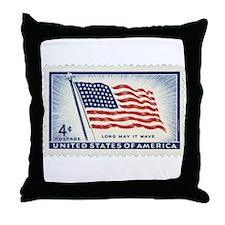 USA Flag 4 Cent Stamp Throw Pillow