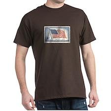 USA Flag 4 Cent Stamp Dark T-Shirt