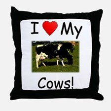 Love My Cows Throw Pillow