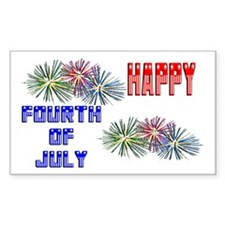 July 4th Fireworks Rectangle Decal