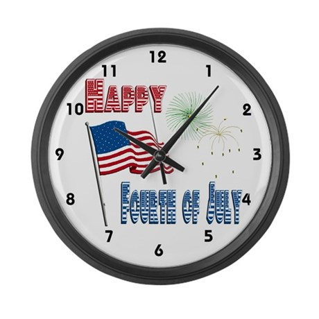 July 4th Flag Fireworks Large Wall Clock
