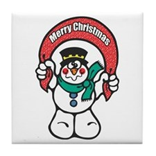 Merry Christmas Snowman Tile Coaster