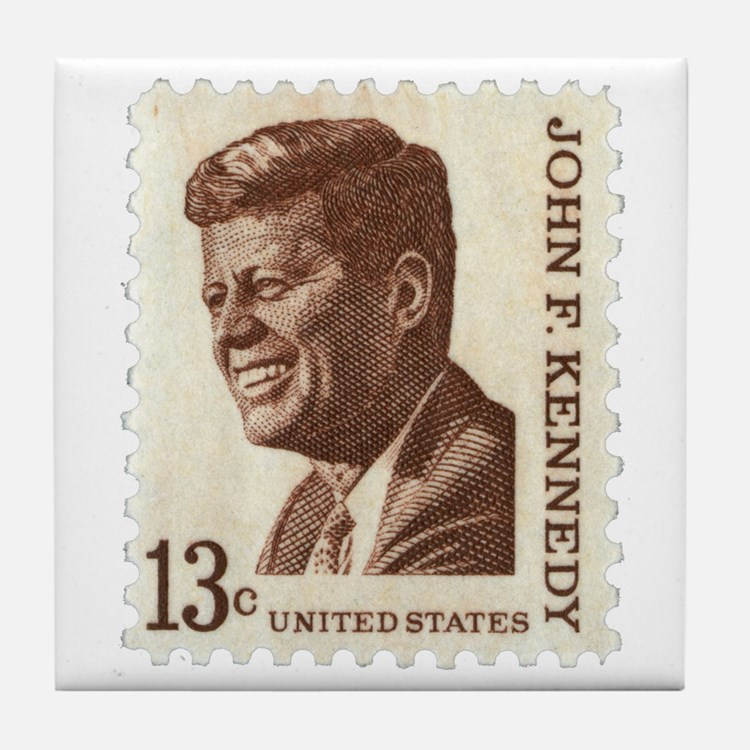 JFK 13 Cent Stamp Tile Coaster