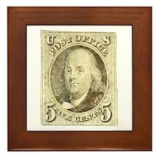 Ben Franklin 5-cent Stamp Framed Tile
