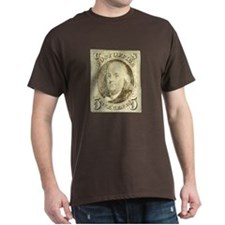 Ben Franklin 5-cent Stamp Dark T-Shirt