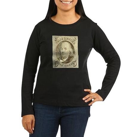 Ben Franklin 5-cent Stamp Women's Long Sleeve Dark