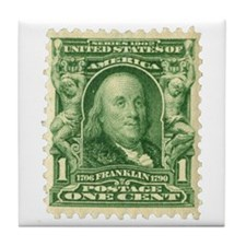 Ben Franklin 1-cent Stamp Tile Coaster