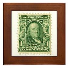 Ben Franklin 1-cent Stamp Framed Tile