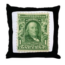 Ben Franklin 1-cent Stamp Throw Pillow