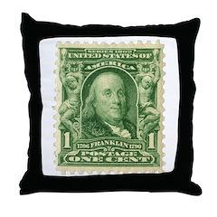 Ben Franklin 1-cent Stamp Throw Pillow