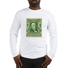 Ben Franklin 1-cent Stamp Long Sleeve T-Shirt