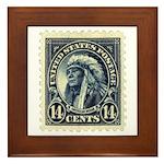 American Indian 14-cent Stamp Framed Tile