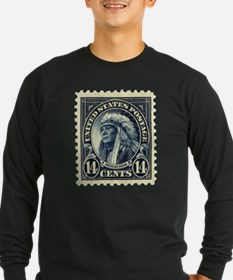 American Indian 14-cent Stamp Long Sleeve Dark Tee
