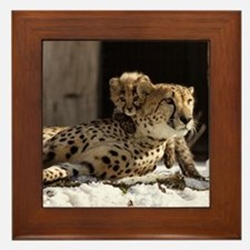 Mom and Baby Cheetah Framed Tile
