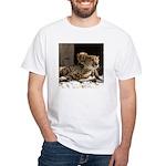 Mom and Baby Cheetah White T-Shirt