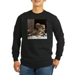 Mom and Baby Cheetah Long Sleeve Dark T-Shirt