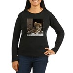 Mom and Baby Cheetah Women's Long Sleeve Dark T-Sh