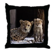 Mom and Baby Cheetah Throw Pillow