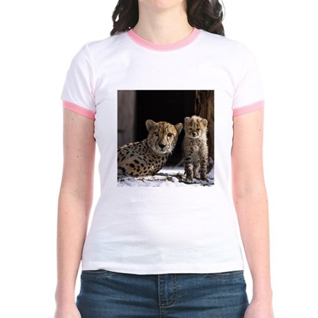 Mom and Baby Cheetah Jr. Ringer T-Shirt