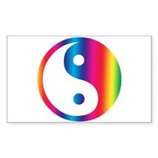 Rainbow Yin Yang Rectangle Decal