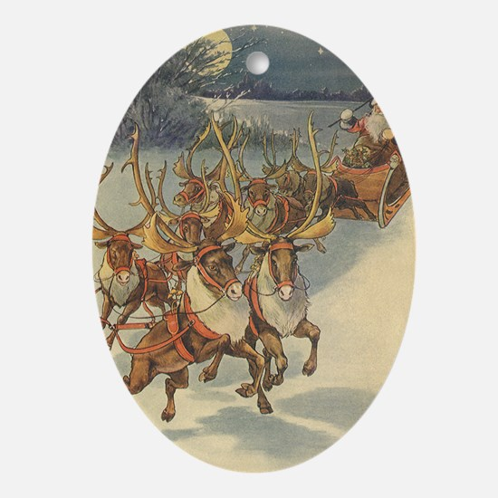 Vintage Christmas Santa Claus Ornament (Oval)
