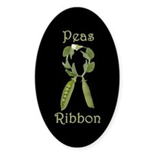 SUPPORT PEAS RIBBON Oval Decal