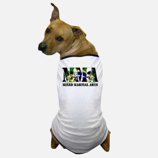 MMA Brazil Flag & Skulls Dog T-Shirt