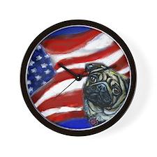 Pug American Flag Wall Clock