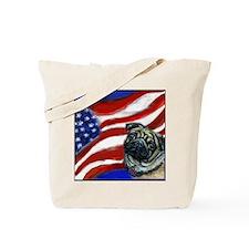 Pug American Flag Tote Bag