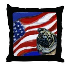 Pug American Flag Throw Pillow