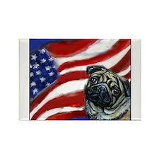 Pug American Flag Rectangle Magnet (100 pack)