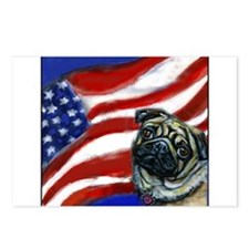 Pug American Flag Postcards (Package of 8)