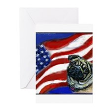 Pug American Flag Greeting Cards (Pk of 10)