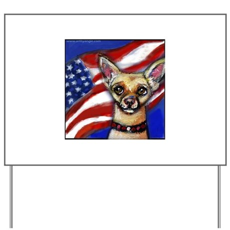 Chihuahua American Flag Yard Sign