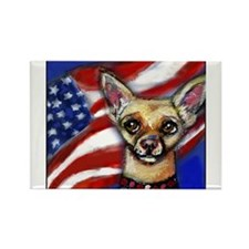 Chihuahua American Flag Rectangle Magnet