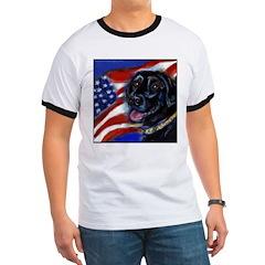 Black Labrador American Flag Ringer T