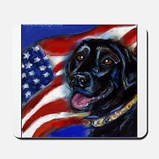 Black Labrador American Flag Mousepad
