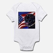 Black Labrador American Flag Infant Bodysuit