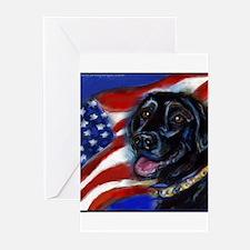 Black Labrador American Flag Greeting Cards (Pk of