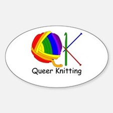 Queer Knitting Oval Decal