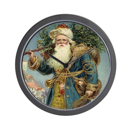 Vintage Christmas Santa Claus Wall Clock